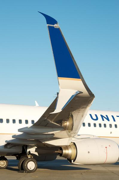 A pre-certified Split Scimitar Winglet installed on a United Boeing 737-800 during the testing phase that began July 2013