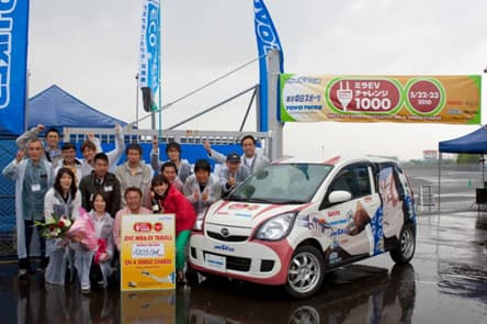 The Japan Electric Vehicle Club with their record-setting Mira EV
