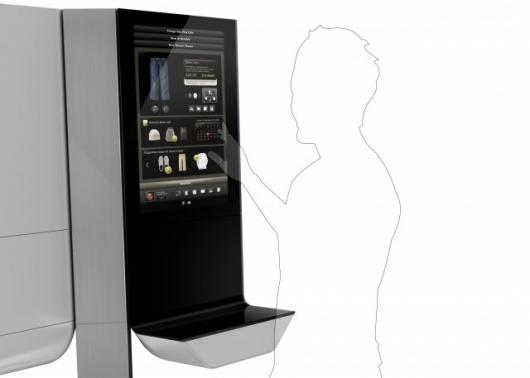 An interactive touchscreen interface allows consumers to read information about the products before they buy