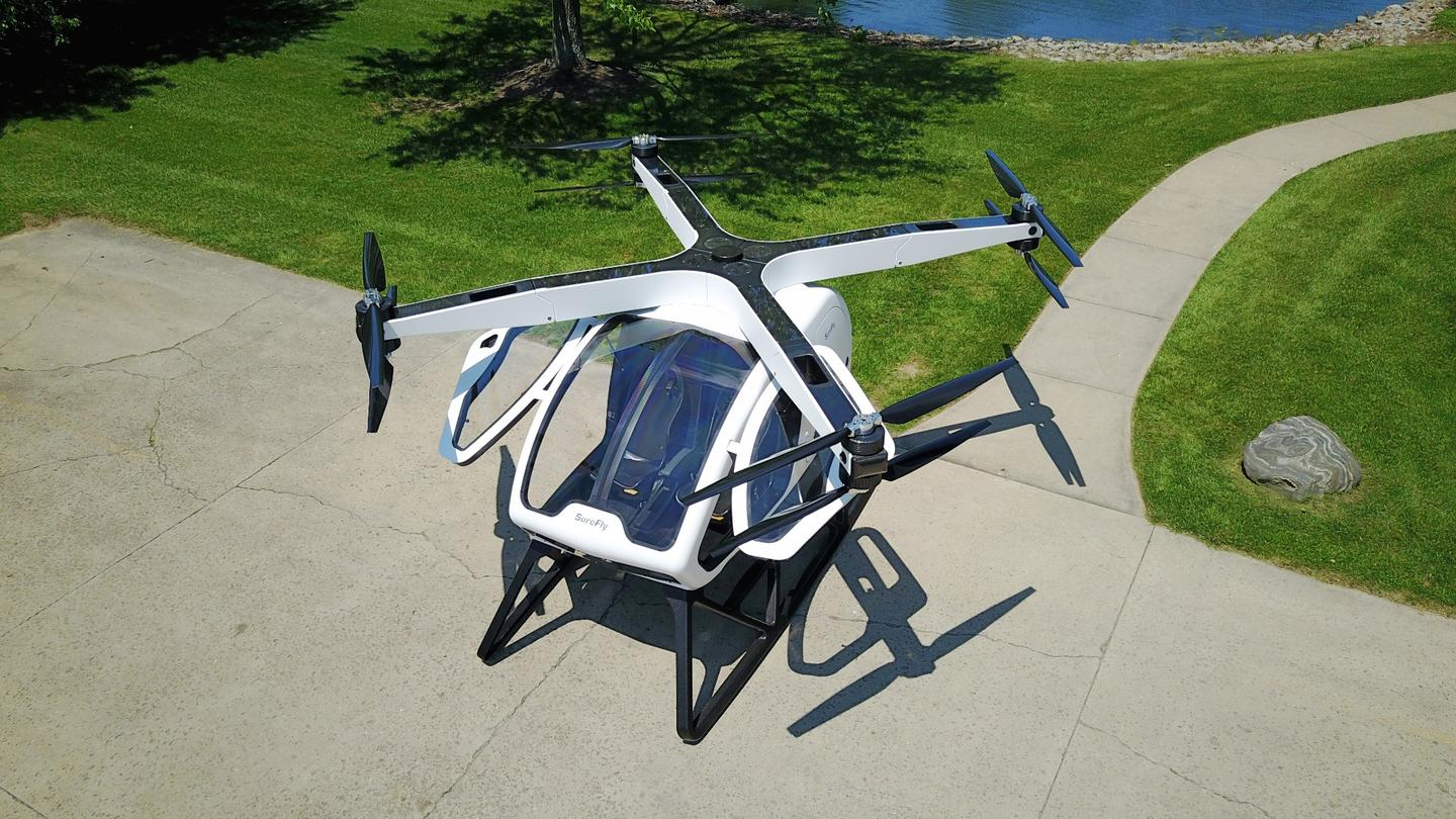The 1,100 kg Workhorse Surefly uses an electric quadcopter layout with two contra-rotating propellers on each corner and a range-extending petrol engine, giving it a range of 70 miles and a top speed of 70 mph.