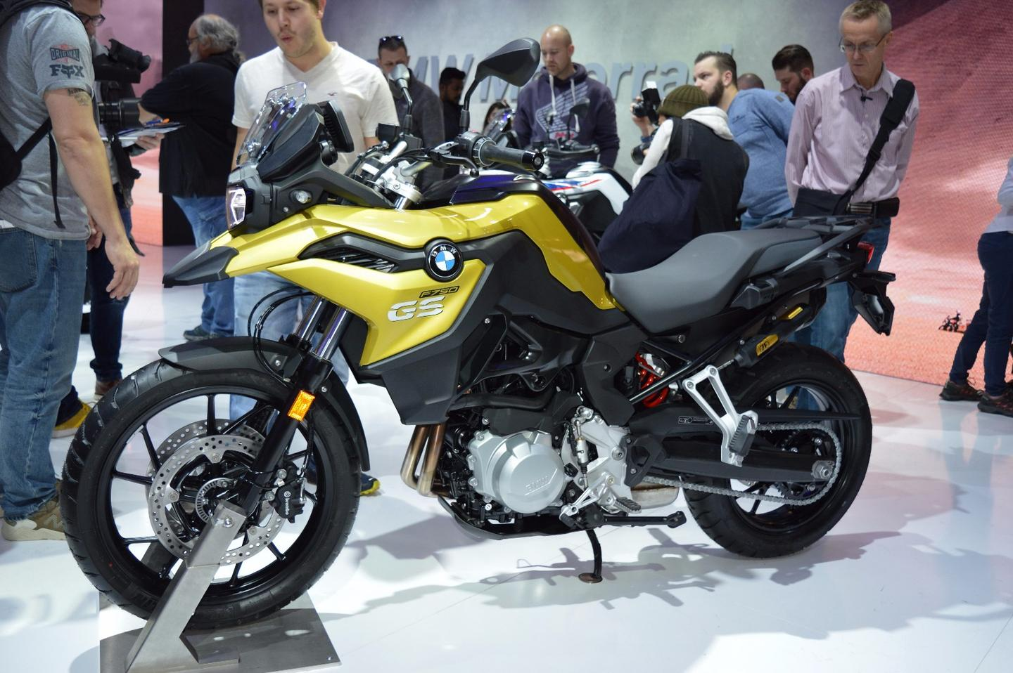 The new 2018 BMW F 750GS at EICMA 2017 finished in Austin yellow