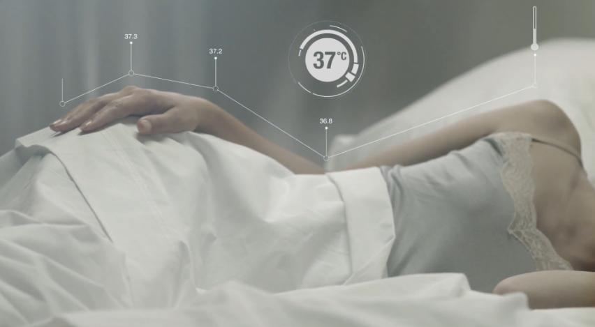One of the Sleep Art sensors measures temperature