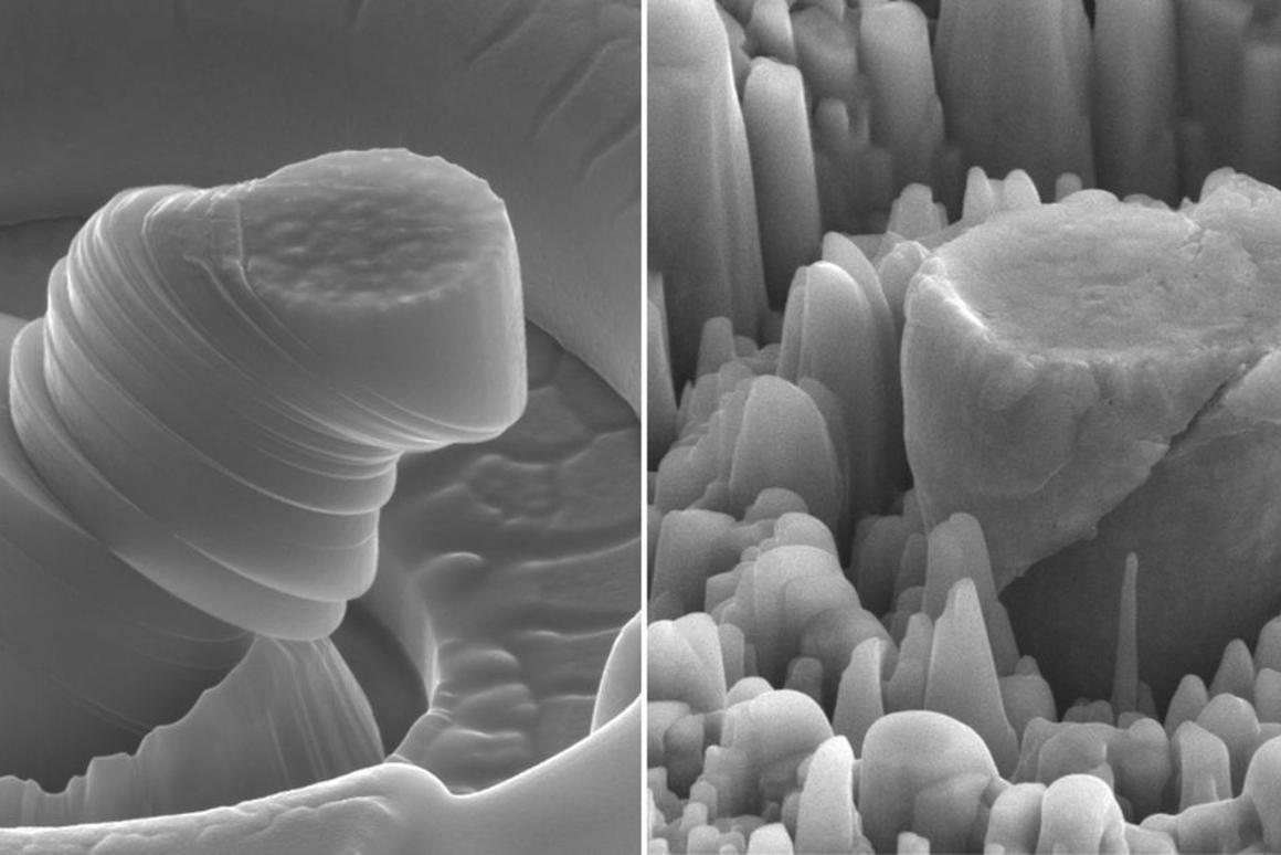 A deformed sample of pure metal on the left, compared to the strong new metal made of magnesium with silicon carbide nanoparticles on the right