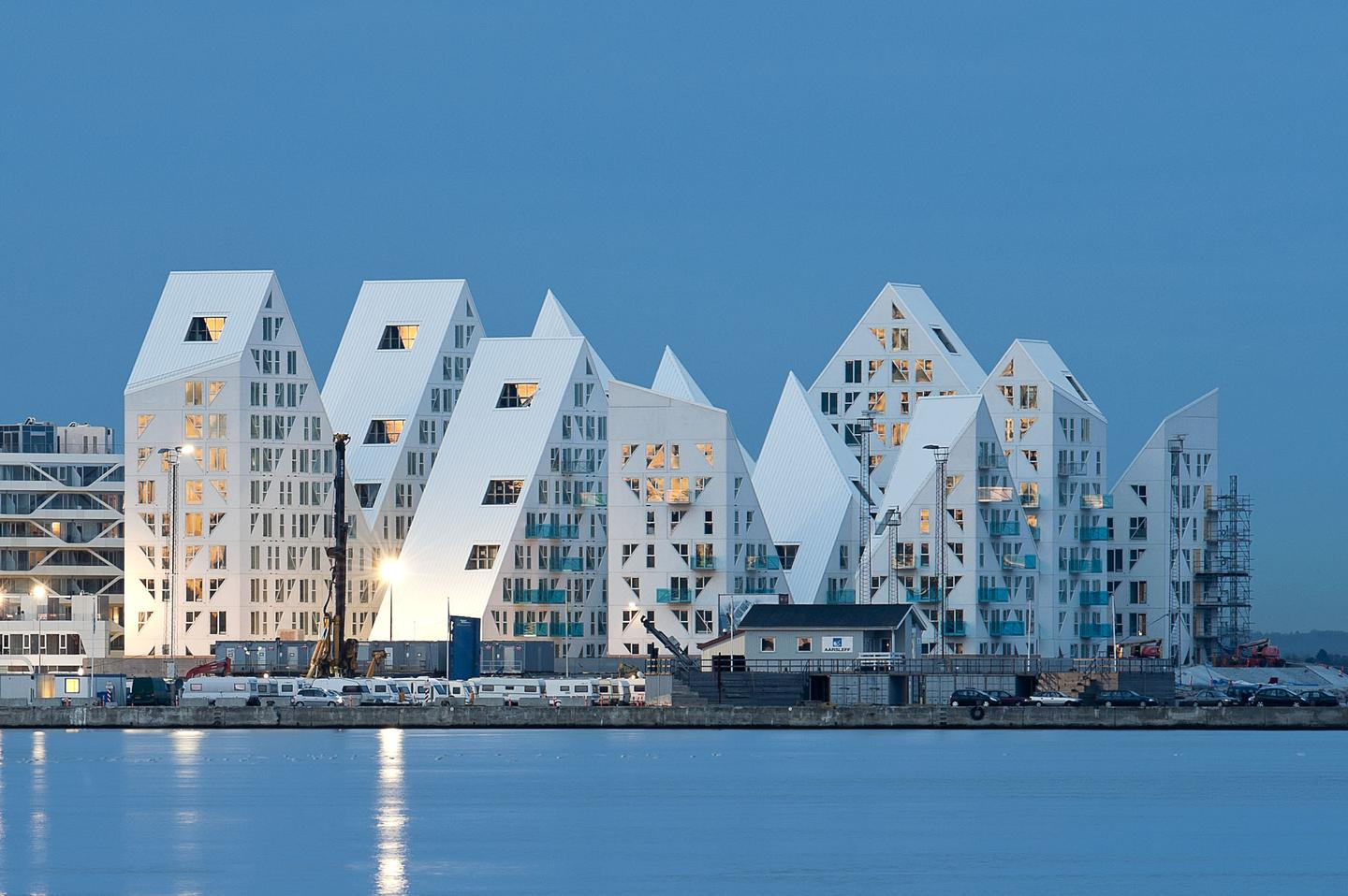 Isbjerget is an apartment complex built on the waterfront of Aarhus in Denmark