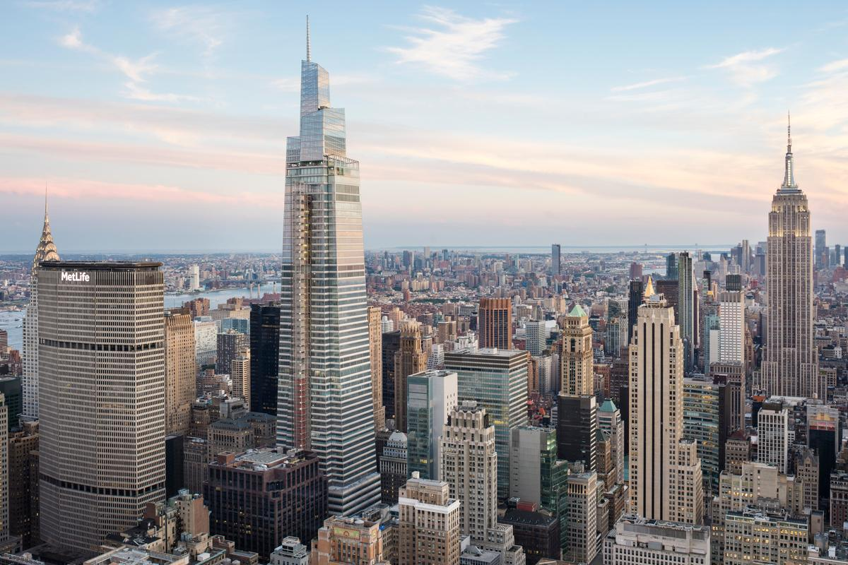 One Vanderbilt rises to a height of 1,401 ft (427 m), in Midtown Manhattan, NYC