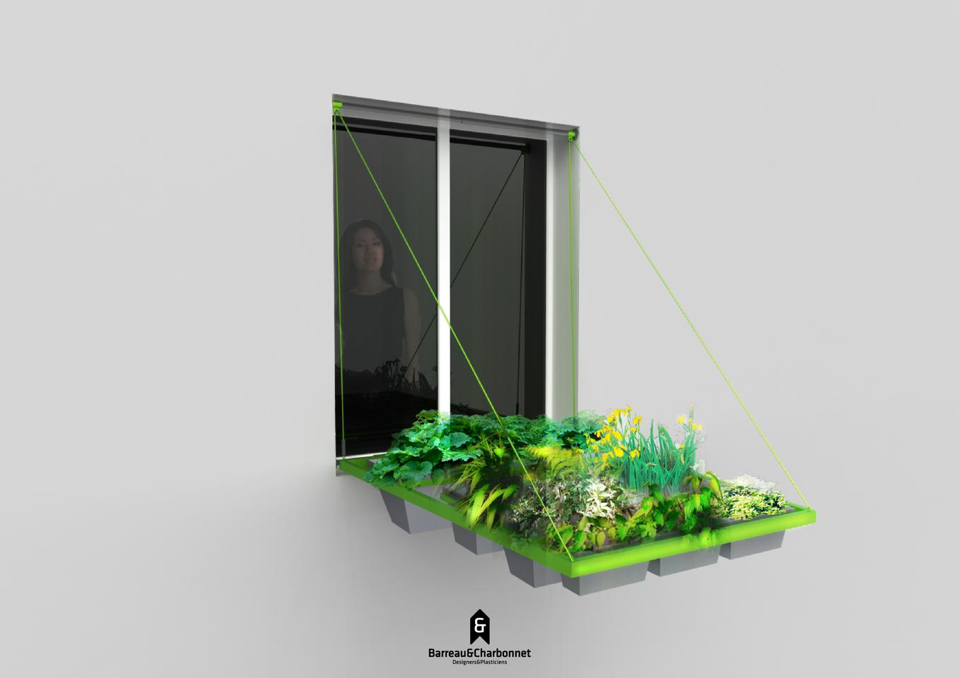 Volet végétal is fitted to the outside window frame and when lowered, gives plants access to light and rain water