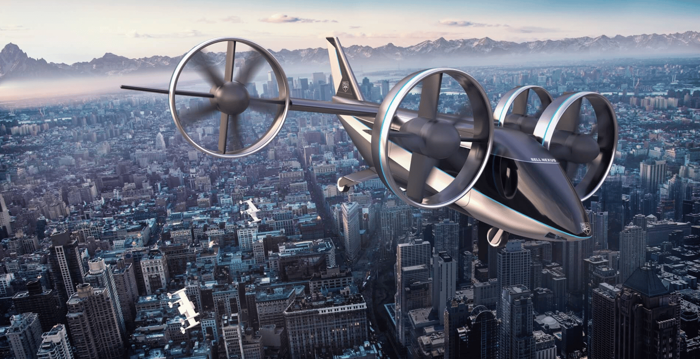 Bell expects the Nexus 4EX to be capable of flying four to five passengers plus a pilot distances of around 100 km (62 mi) at a time