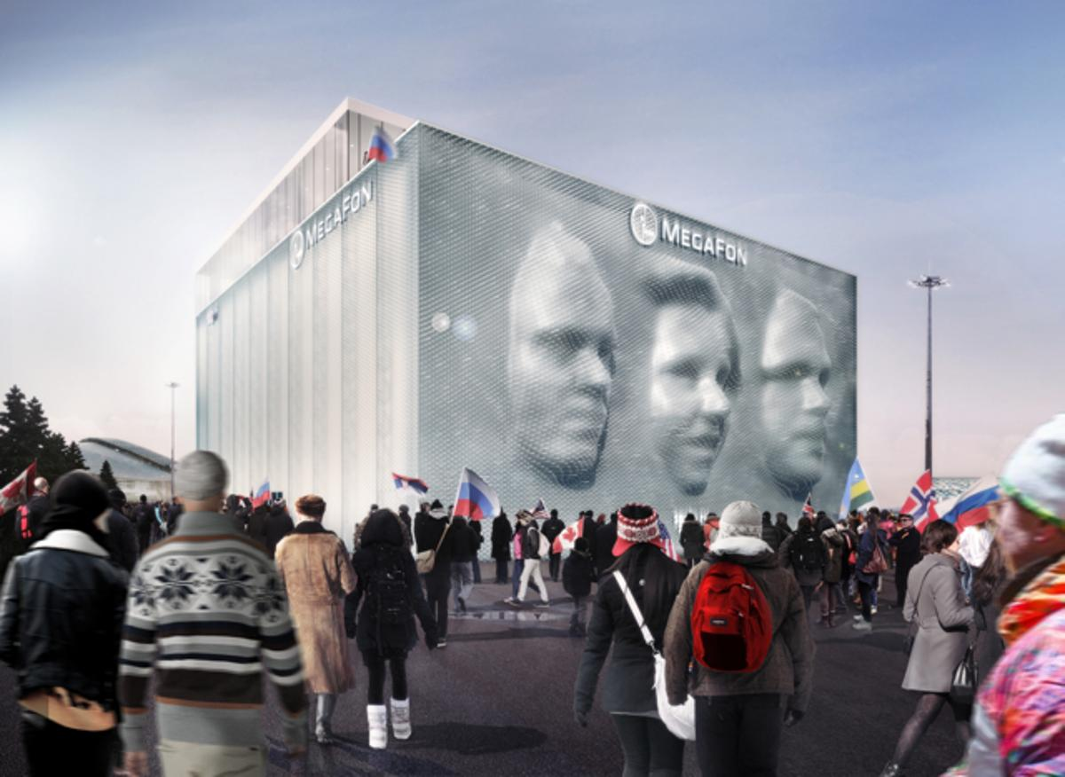 The MegaFon pavilion for the 2014 Winter Olympics in Sochi, Russia features a façade that produces 3D portraits of visitors (Image: Asif Khan)