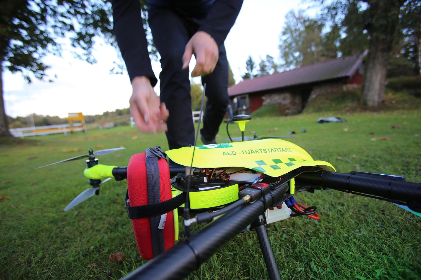 The drone system developed by FlyPulse to transport an emergency defibrillator