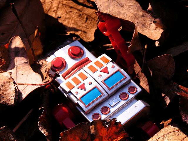 This toy robot won't decompose naturally, unlike those which researchers are hoping to develop (Photo: Caleb Roenigk)