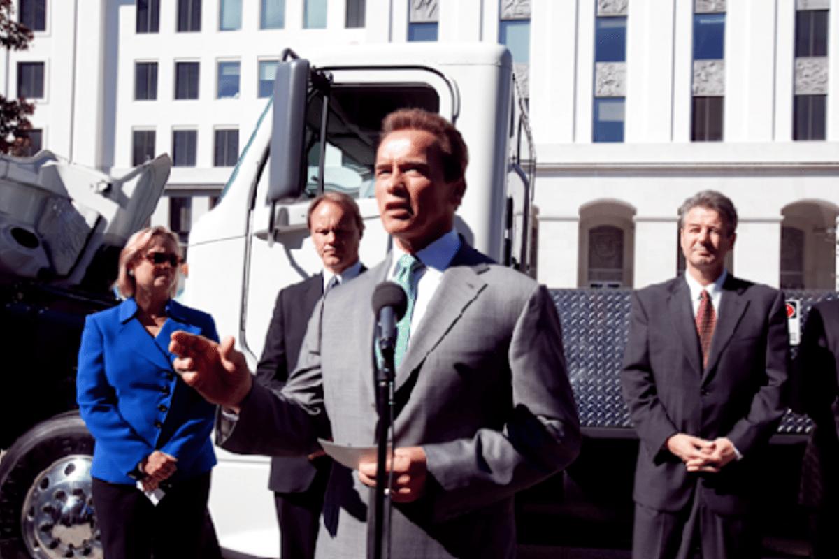 California Governor Arnold Schwarzenegger introducing the hydrogen-powered Tyrano zero emission semi truck