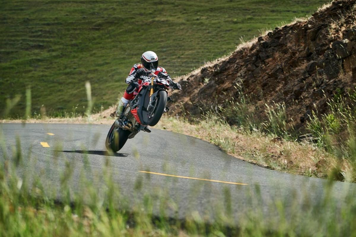 Carlin Dunne rides his prototype Ducati Streetfighter at Pikes Peak