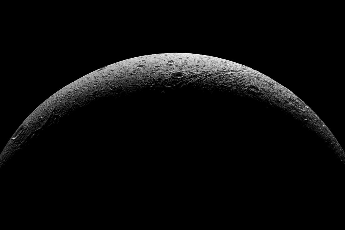 Dione imaged as Cassini moved away from the Saturnian moon