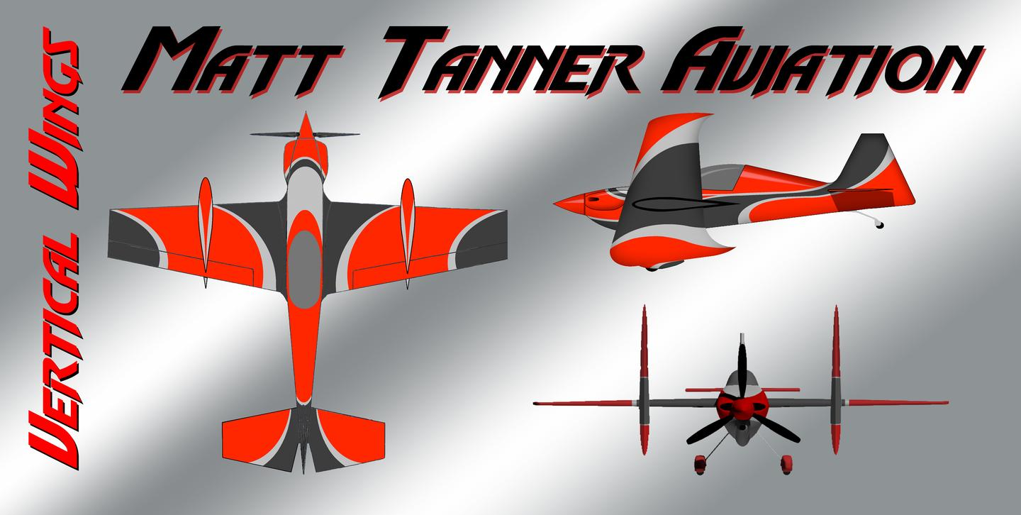 A variety of angles of the vertical-winged stunt plane