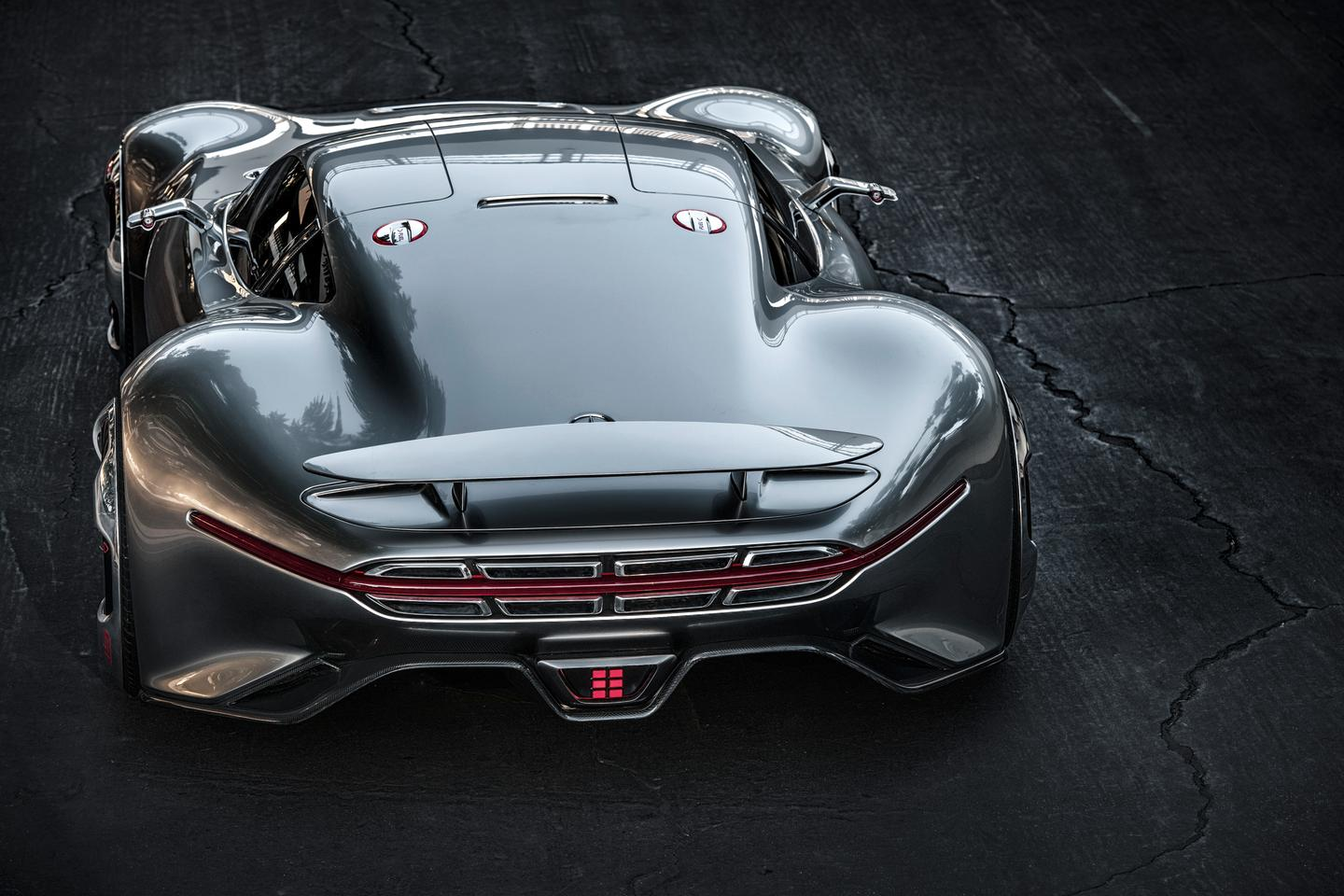 Mercedes-AMG sound team created a distinct, performance bent exhaust note for the eight narrow exhaust vents integrated into the Vision GT's oversized rear end