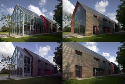 Sliding house - the mobile exterior slides back and forth to reveal a changing facade