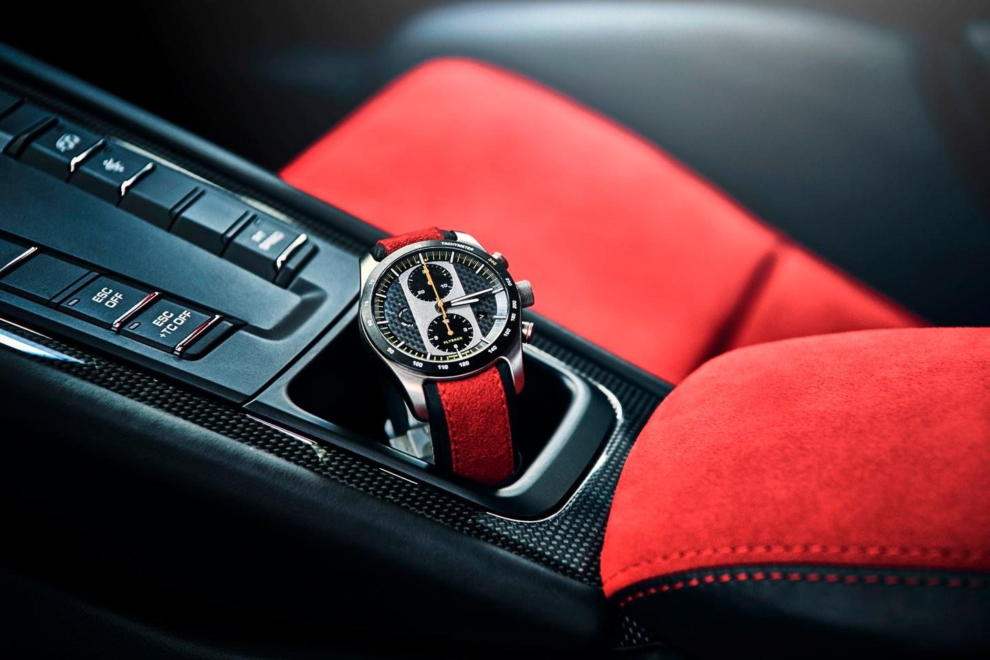 The Porsche Design chronograph looks right at home inside the 911 GT2 RS