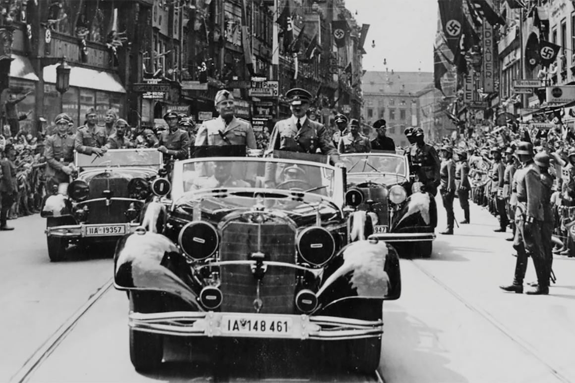 The car to be auctioned picturedin MunichonJune 18, 1940, when it was usedfor the state visit of Italian Fascist dictator, Benito Mussolini