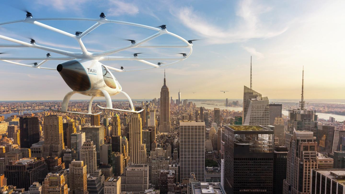 Voloctoper's electric aircraft is built to take two passengers on short automated flights within urban centers