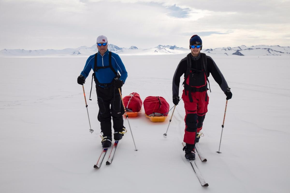 Robert and Barney Swan training for the SPEC walk to the South Pole