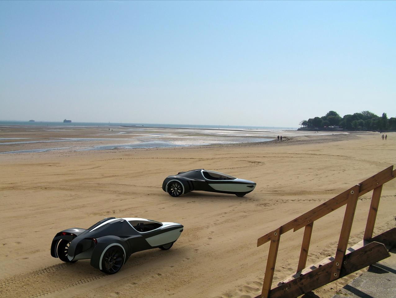 The Manta three-wheeled electric vehicle concept is good for land or sea