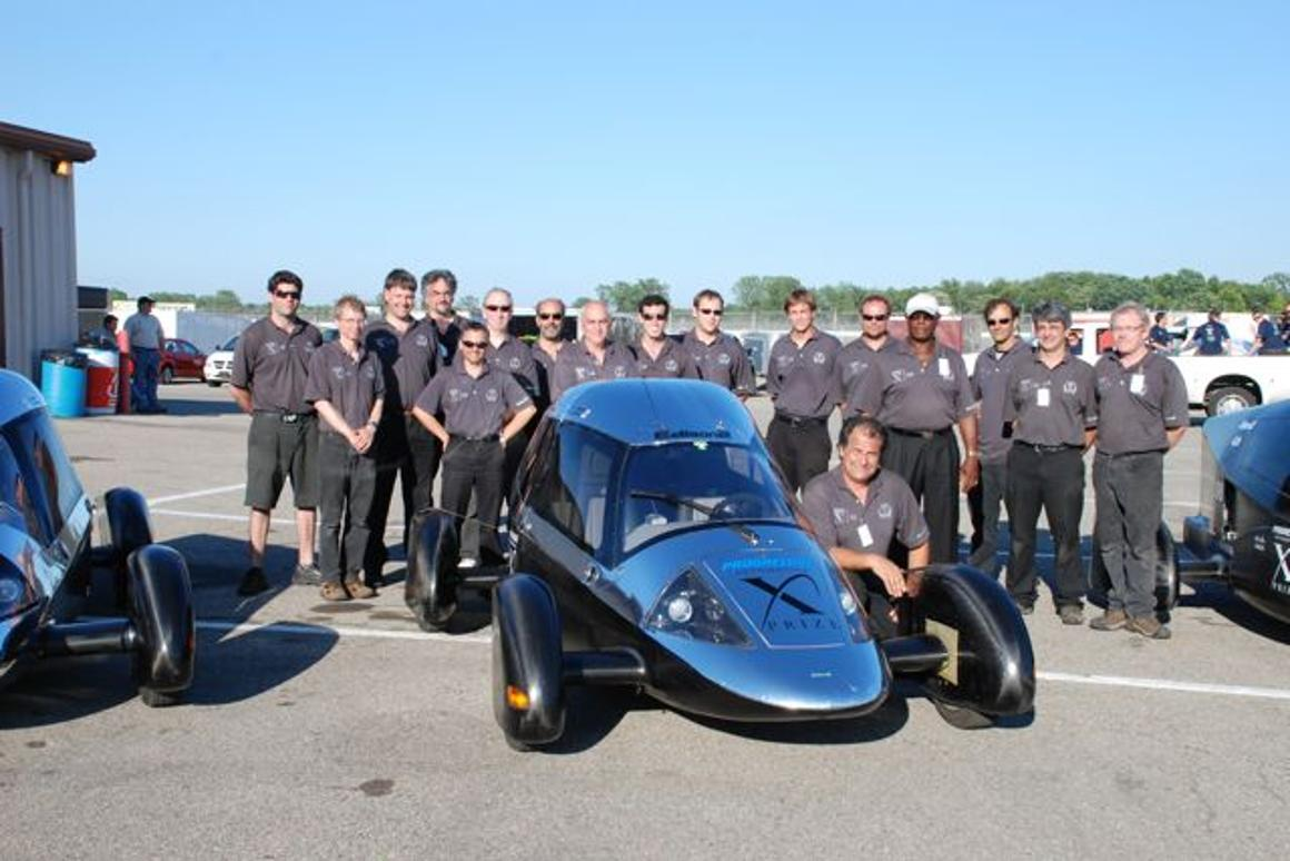 The Edison2 team, with Oliver Kuttner beside the Very Light Car