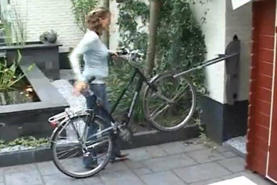 Wheelylift is a wall-mounted parking solution that saves space and effort when parking a bicycle