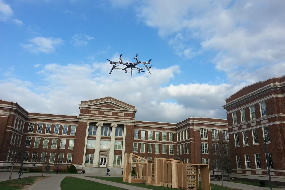 The HorseFly octocopter could charge its battery and pick up packages from a mobile delivery van (Photo: Kelly Cohen)