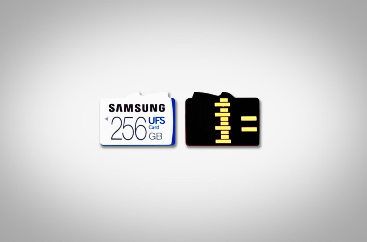 The front and back of the Samsung UFScard