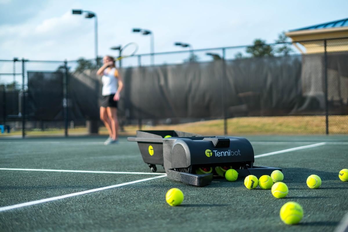 Tennibot collects tennis balls, so you don't have to