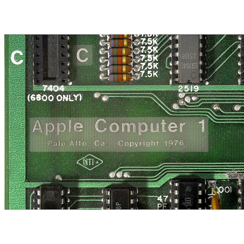 Close up of the name plate on the Apple I motherboard