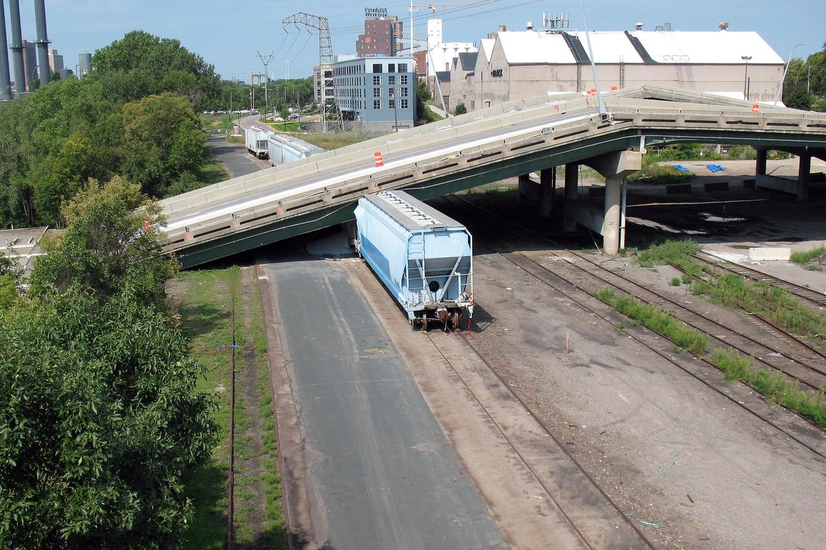 UAVs could someday be used to prevent bridge collapses, such as this one in Minneapolis (Photo: Miker/Shutterstock)