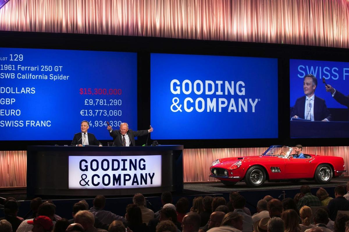 Bidding goes past the $15 million mark. In the end this 1961 Ferrari 250 GT sold for $16,830,000