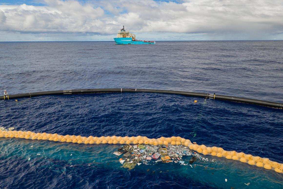 The Ocean Cleanup's prototype System 001/B has now started capturing plastic waste from the Great Pacific Garbage Patch