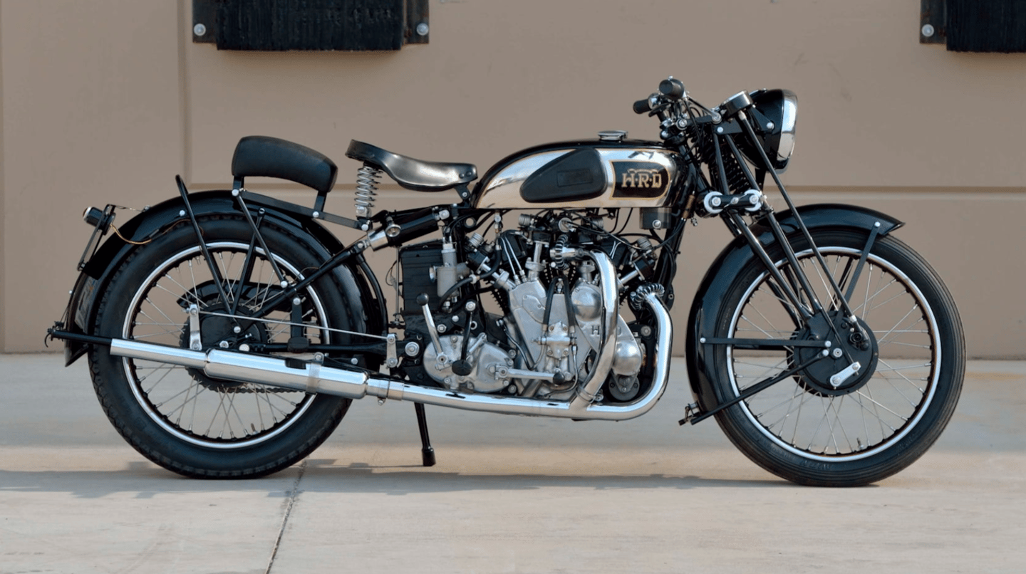 This 1938 Vincent HRD Series A Twin went to auction during Monterey Car Week with Mecum Auctions (Lot F142) on 13-August-2021 with an official estimate of $400,000 to $500,000 and was passed in after a high bid of $200,000