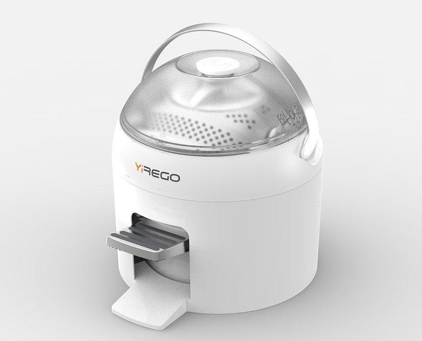 The production Drumi features a carry handle that doubles as a lock and a drum which can be removed for cleaning