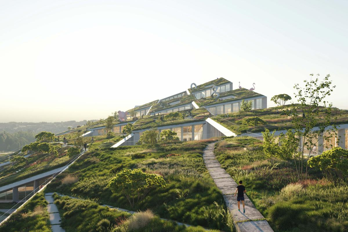 The Farfetch HQ will be topped by a series of green roofs that include meandering pathways