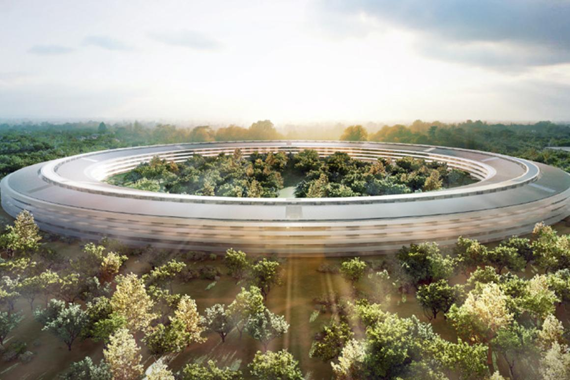 The sun rises over Apple's new campus