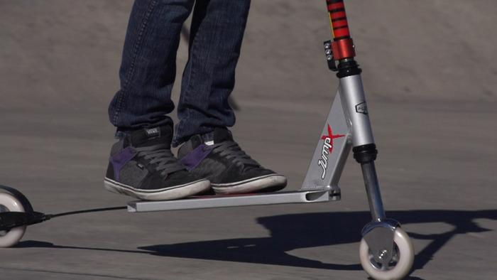 Fuzion Scooters hopes to get the jump on the competition by adding a little bit of pogo stick action to the scooter
