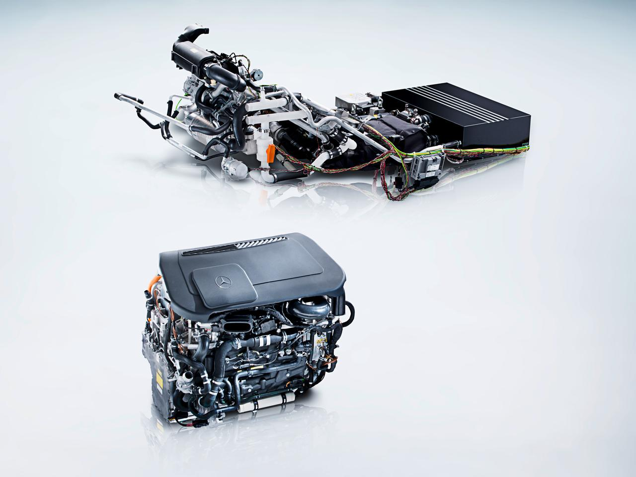 The fuel cell system of the Mercedes-Benz B-Class F-CELL (above) compared to the current development status