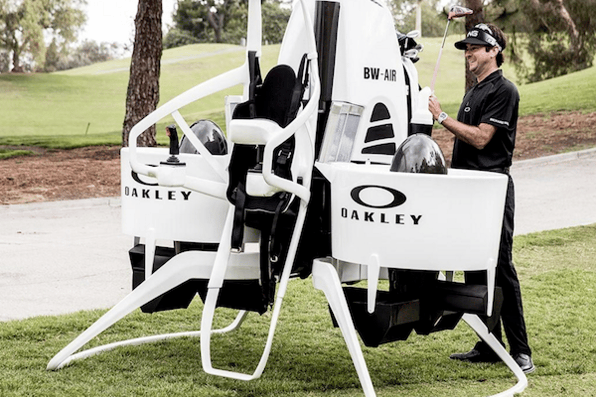 Pro Golfer Bubba Watson, Oakley and Martin Aircraft have teamed up to create the Golf Cart Jetpack