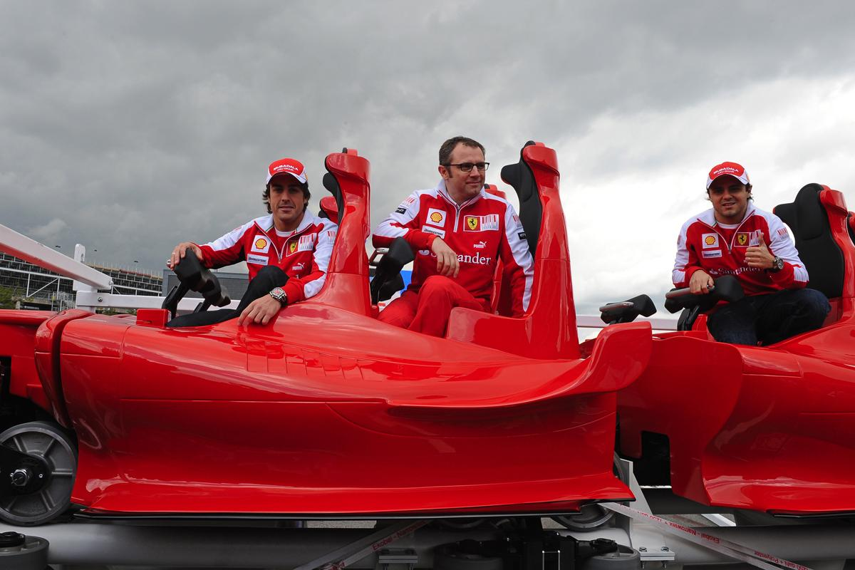 The Formula Rossi roller coaster cars