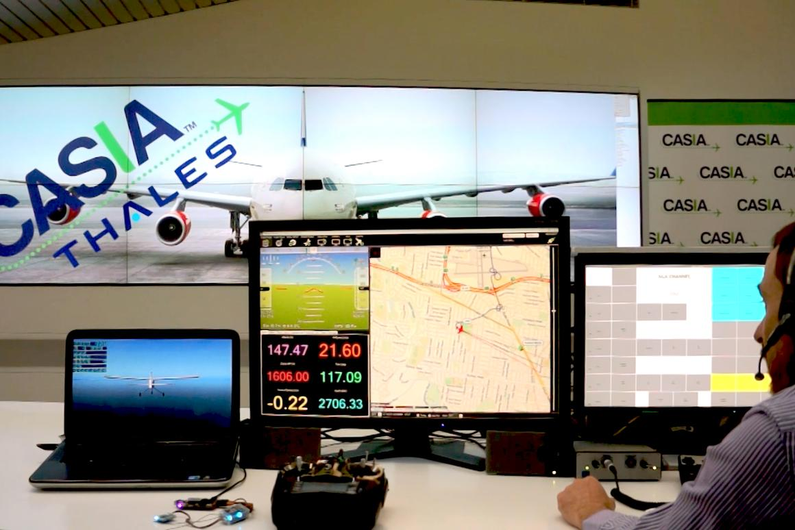 An air traffic controller advises a drone, using the experimental system (Photo: RMIT University)