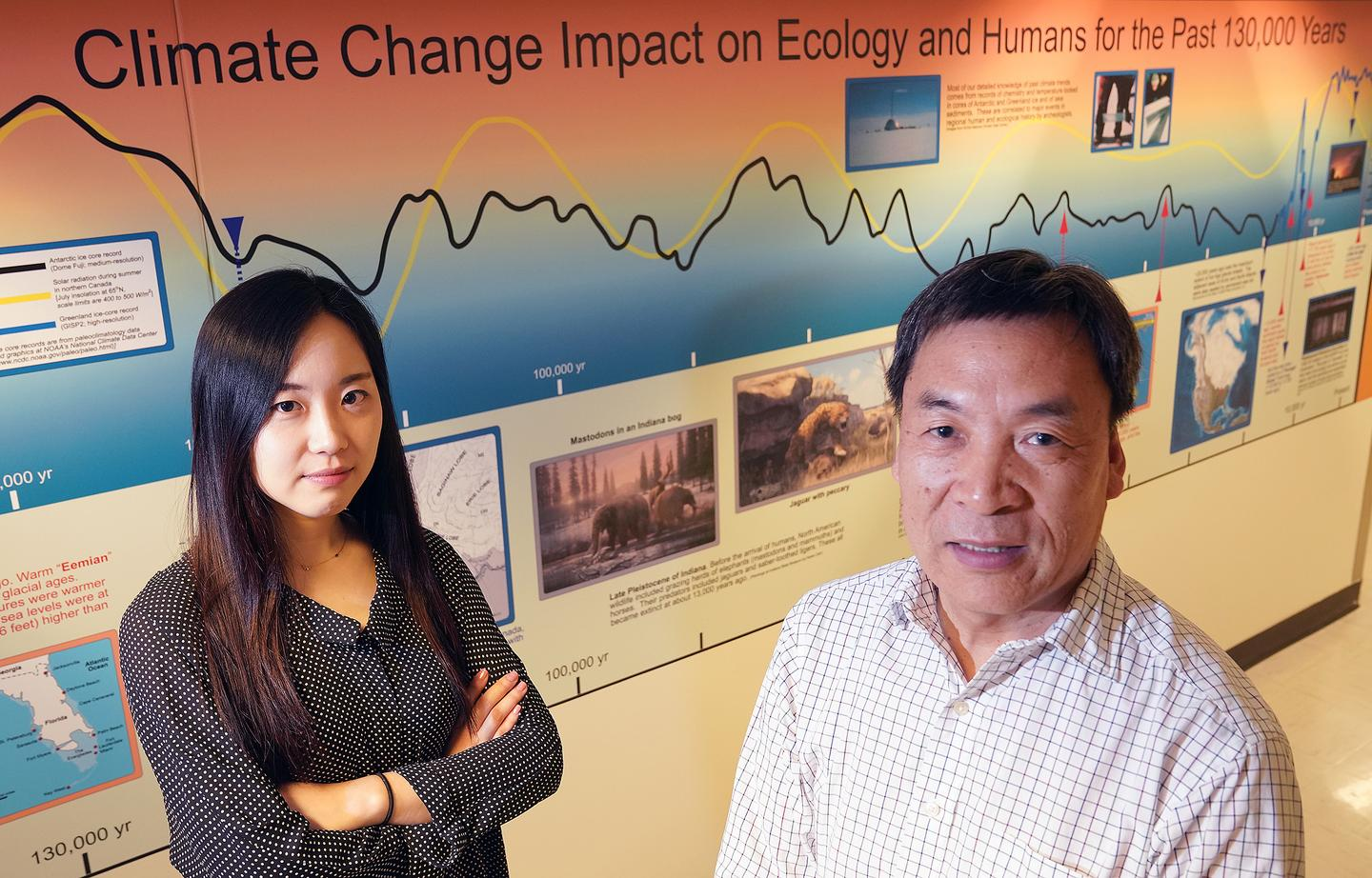Youmi Oh (left) and Qianlai Zhuang (right), researchers on the new study