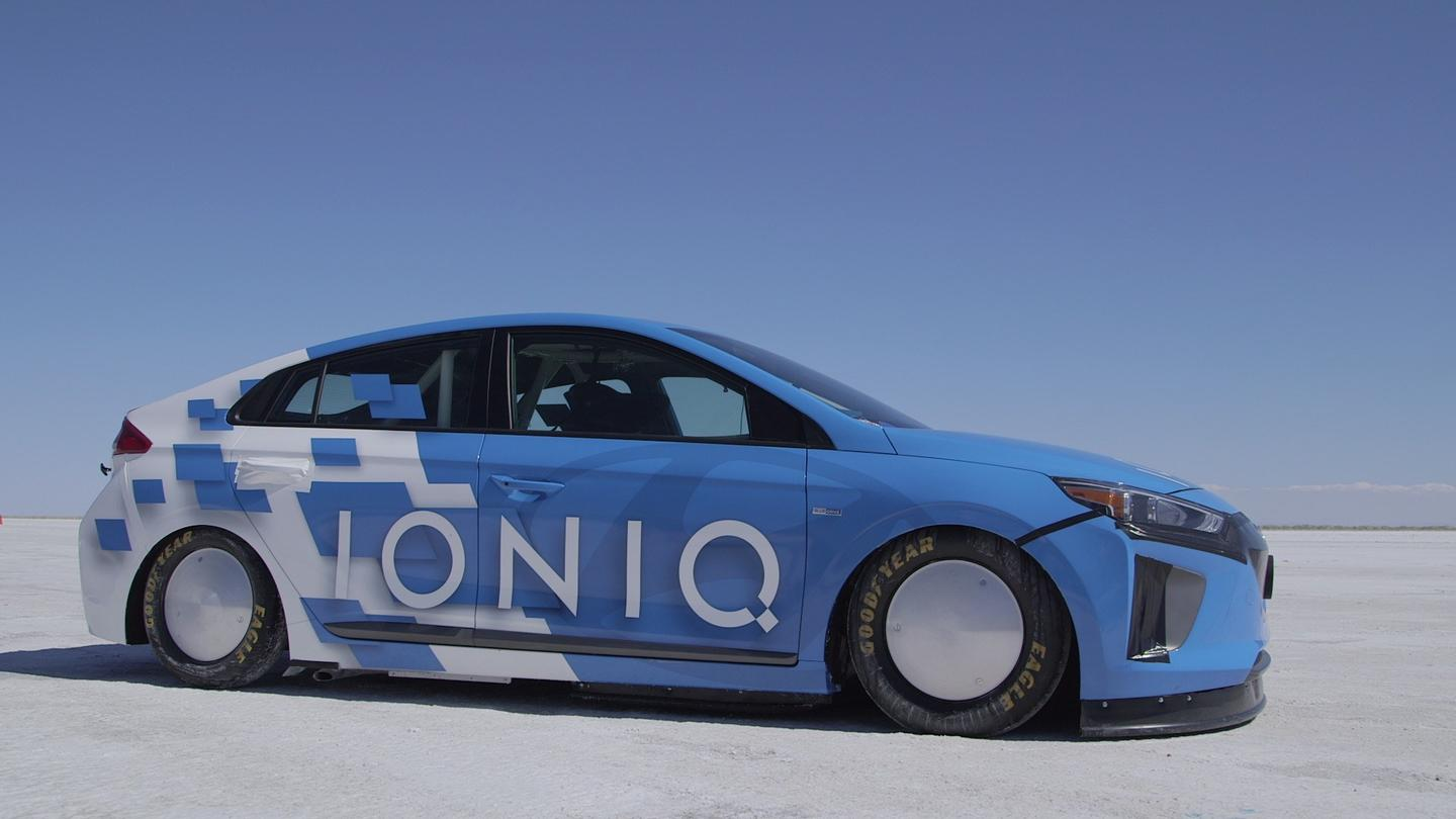Several modifications were made to the 2017 Ioniq hybrid for its land speed record attempt