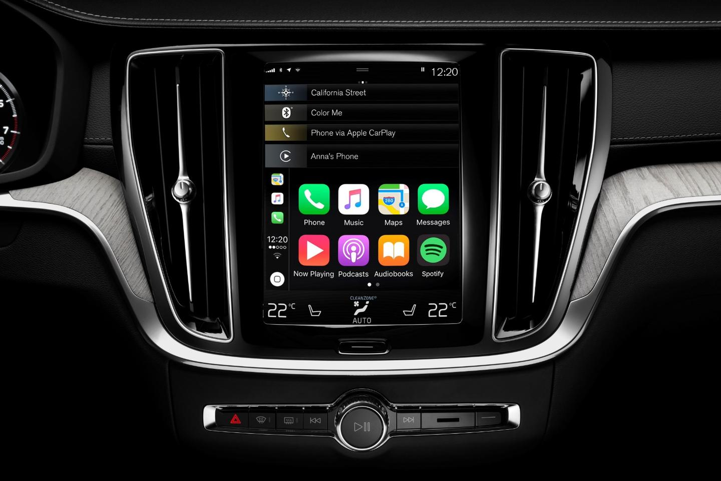 Volvo's Sensus Connect infotainment system features a tall, tablet-style touchscreen