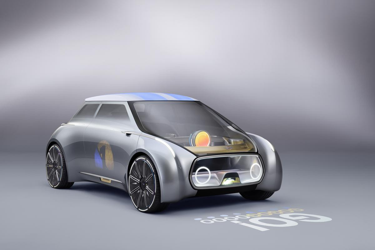 The round orb in the windscreen indicates that the car is being autonomously driven