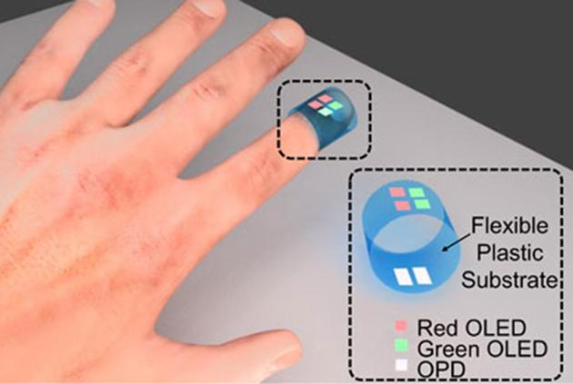 A sensor made from organic materials can be worn like a Band-Aid to track blood oxygen levels (Image: UC Berkeley/Yasser Khan)