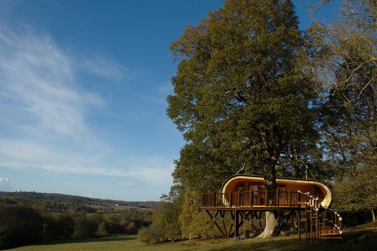 Eco-PERCH is a prefabricated treehouse that provides a low-impact hideaway for four guests