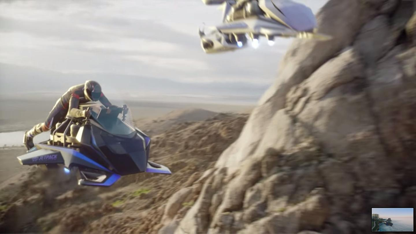 The Speeder flying motorcycle: up to 150 mph (240 km/h), up to 20 minutes in the air